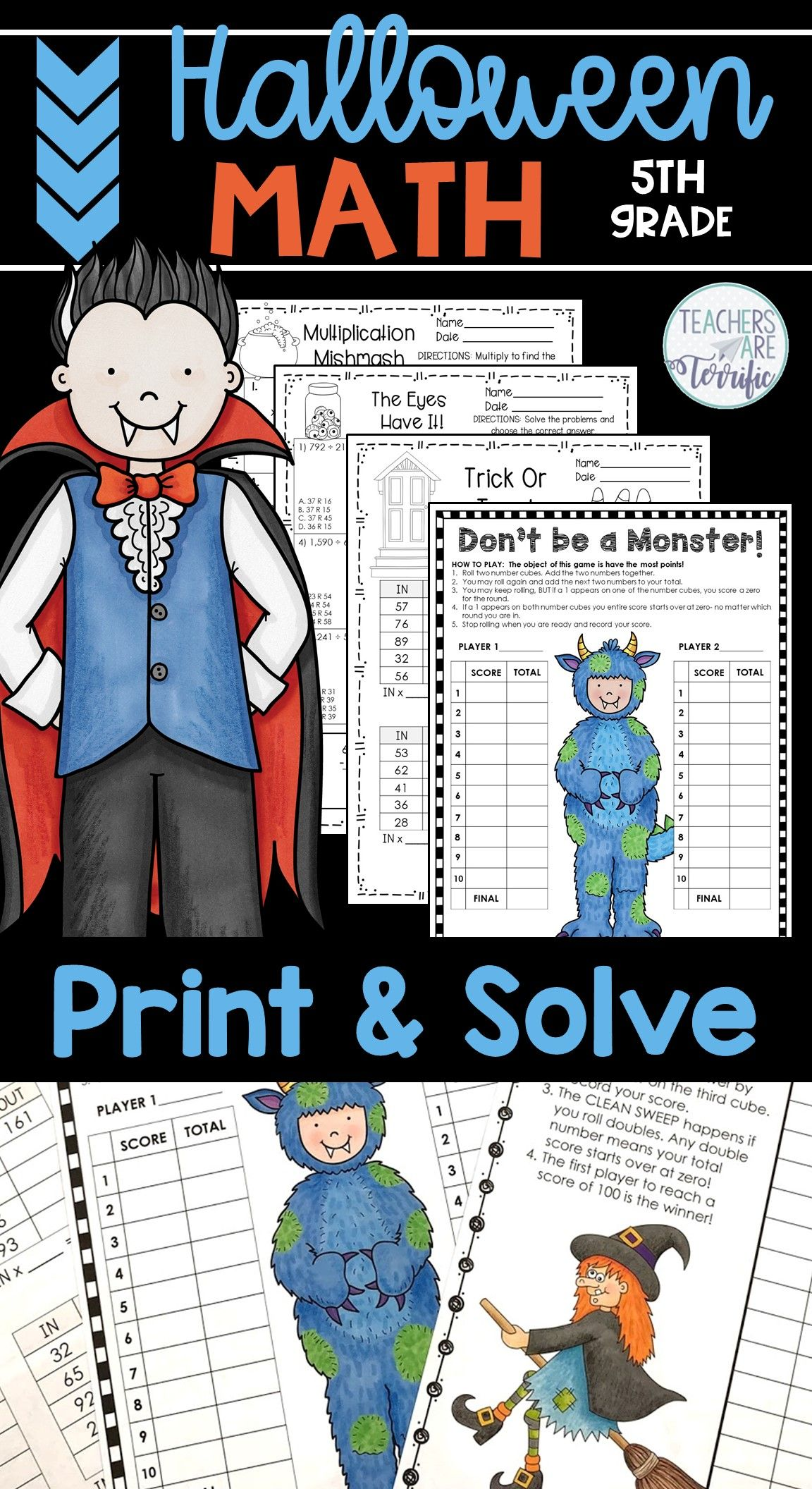 Halloween Math Worksheets Print And Solve Gr 5
