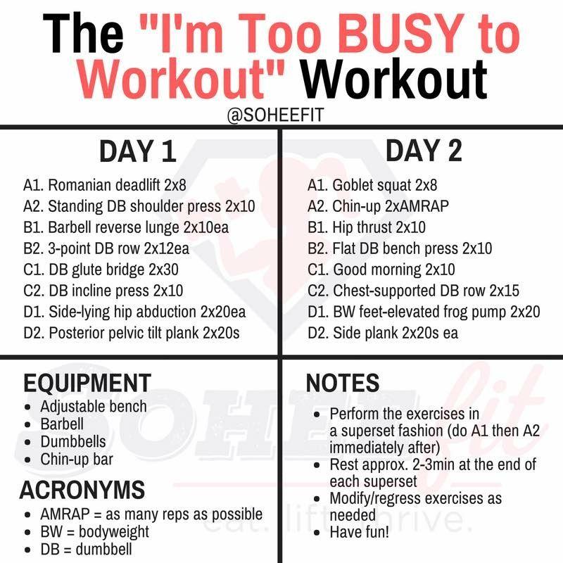 2 Day Split Workout Sohee Lee 2 Day Split Workout Workout Workout Splits
