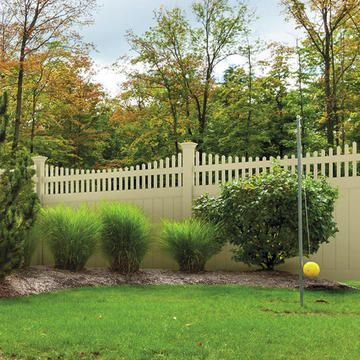 Activeyards Aspen Privacy Fence In Wicker Vinyl Fence Landscaping Backyard Fences Fence Landscaping