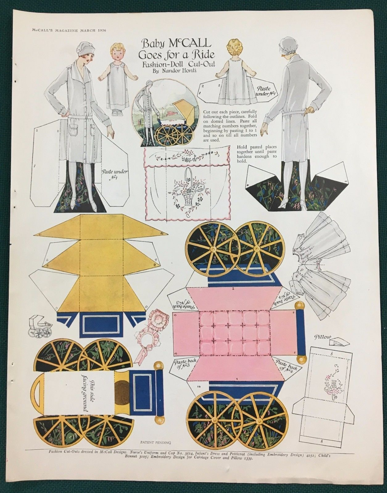1920s Nándor Honti paper doll illustrating McCall's patterns - nurse uniform and cap 3524, infant dress and petticoat 4252, bonnet 3105, embroidery 1339 - in McCall's magazine