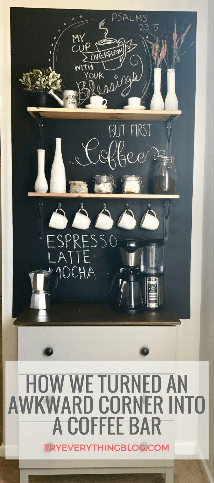 Transforming an awkward corner into the perfect Coffee Bar #coffeebarideas