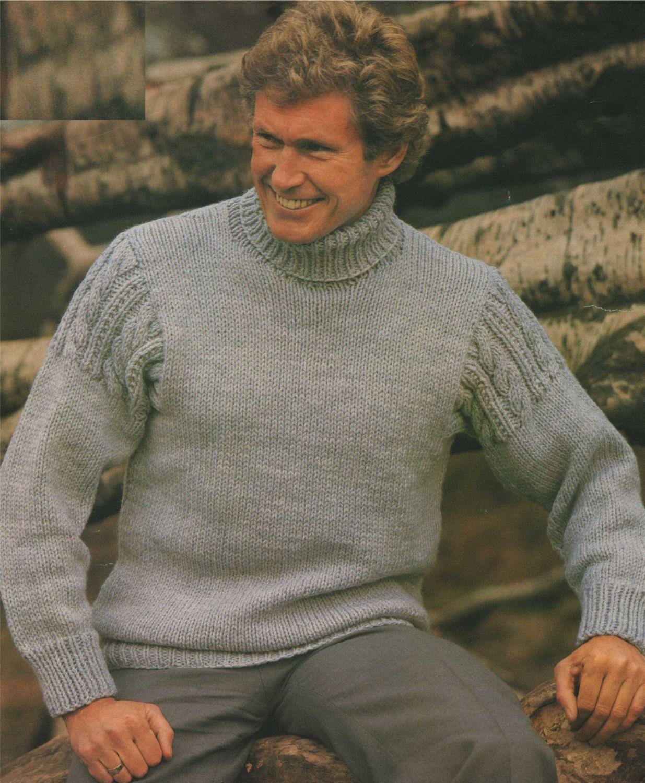"4B MENS  BUTTON NECK   ARAN JUMPER   Knitting Pattern  36-44 /"" CHEST"