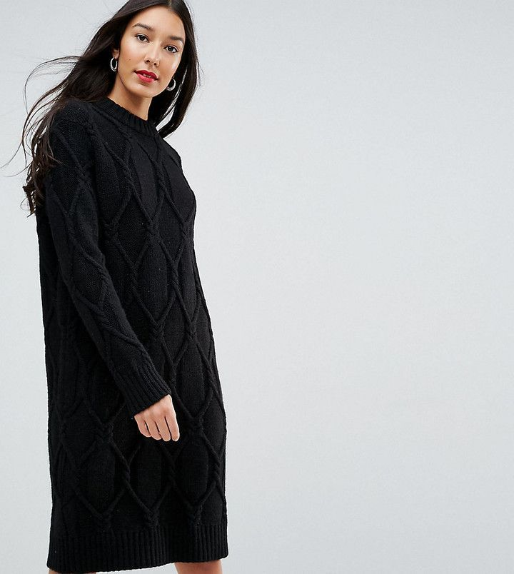 Yas Tall Chunky Cable Knit Sweater Dress Black Chunky Cable