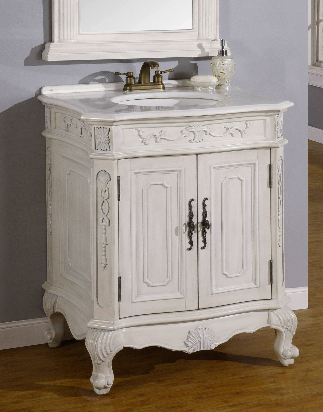 29 Single Sink Bathroom Vanity Cabinet With White Marble Top Victorian Style White Vanity Bathroom Bathroom Vanity Single Bathroom Vanity