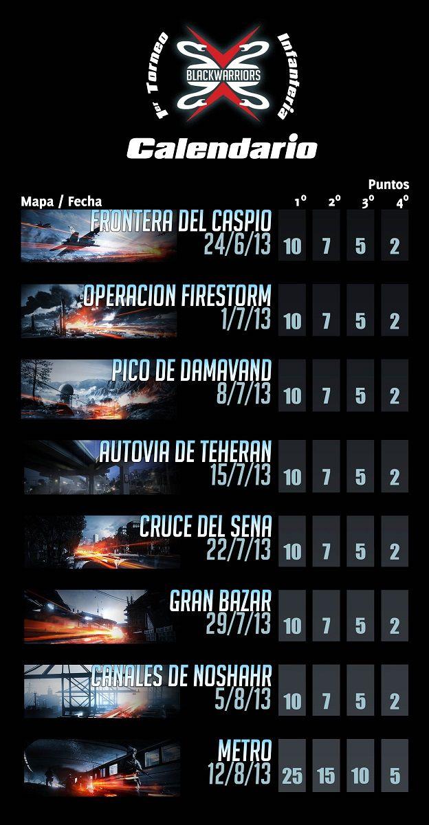 Calendario torneo equipos BF3