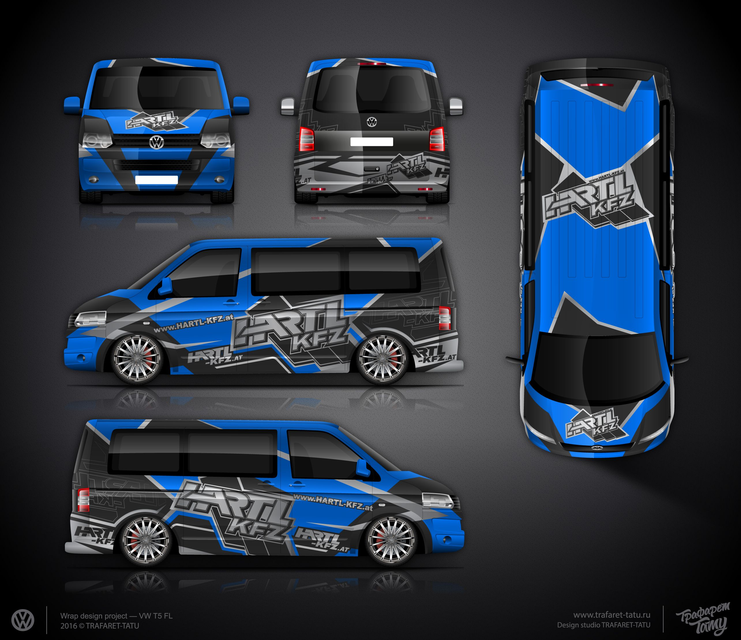 The approved branding wrap design for VW T5 | Car wrap design ...