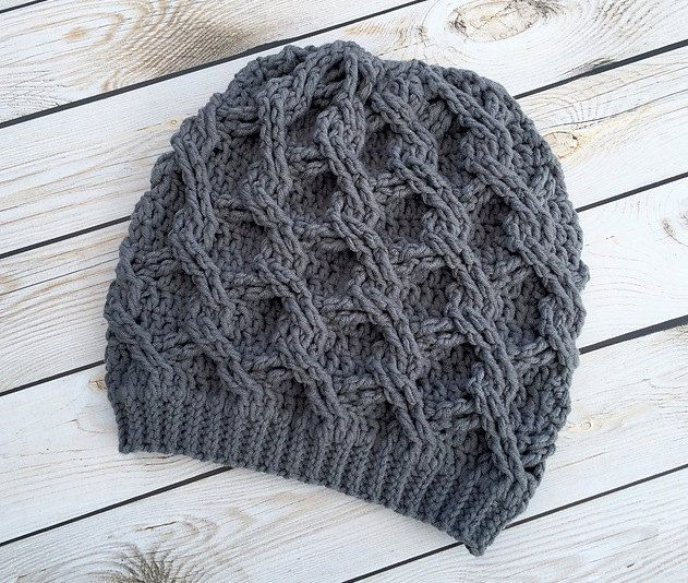 Crochet Pattern for Chain Link Slouch Hat - 5 sizes, baby to large ...