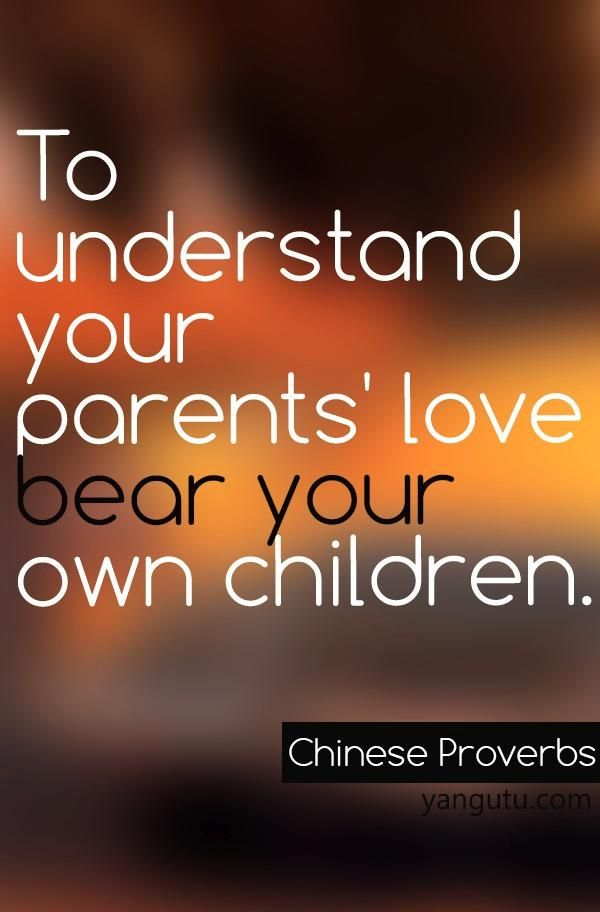 To Understand Your Parents Love Bear Your Own Children Chinese Proverb 3 Love Sayings Quotes Love Sayings H Sweet Love Quotes Proverbs Family Quotes