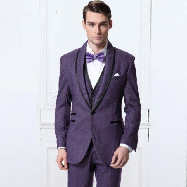 2017 Latest Coat Pant Design Purple Men Suit Prom Jacket Groom ...