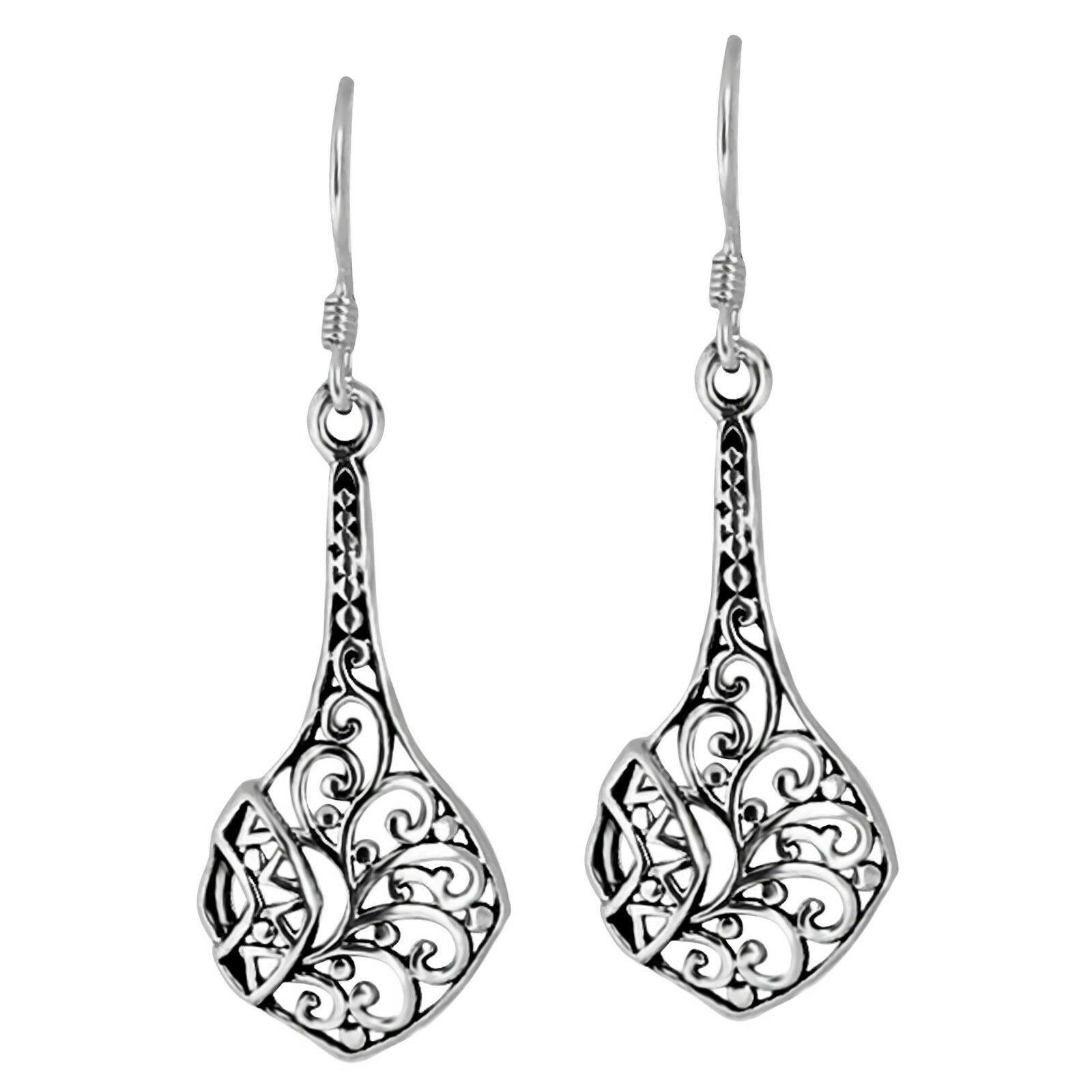 Solid 925 Sterling Silver Dangle Drop Filigree Hollow Hook Earrings Jewellery