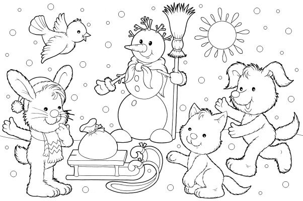 Winter Scene Coloring Sheet And Winter Song For Children