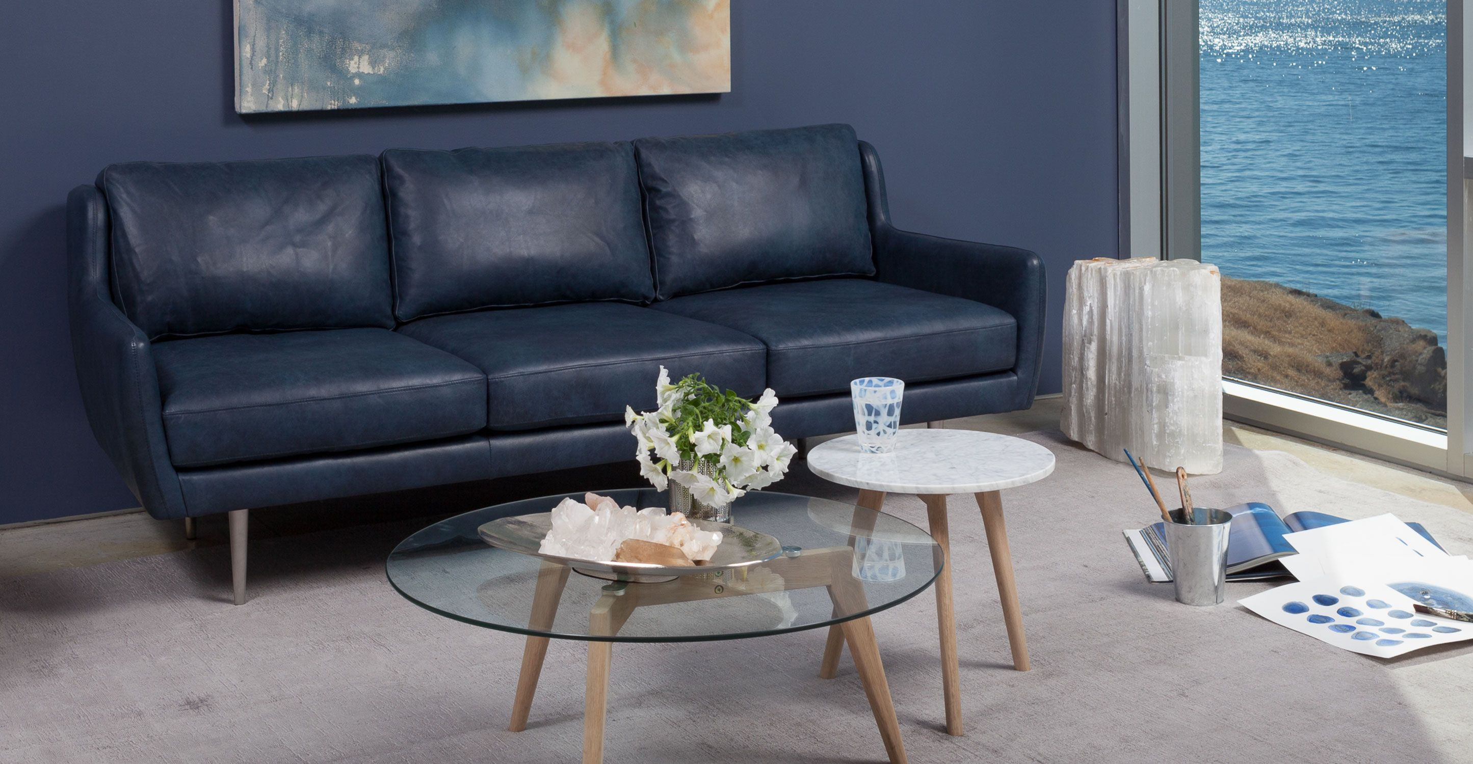Matrix Oxford Blue Sofa Sofas Article Modern Mid Century And Scandinavian Furniture Blue Leather Sofa Mid Century Modern Sofa Blue Sofa