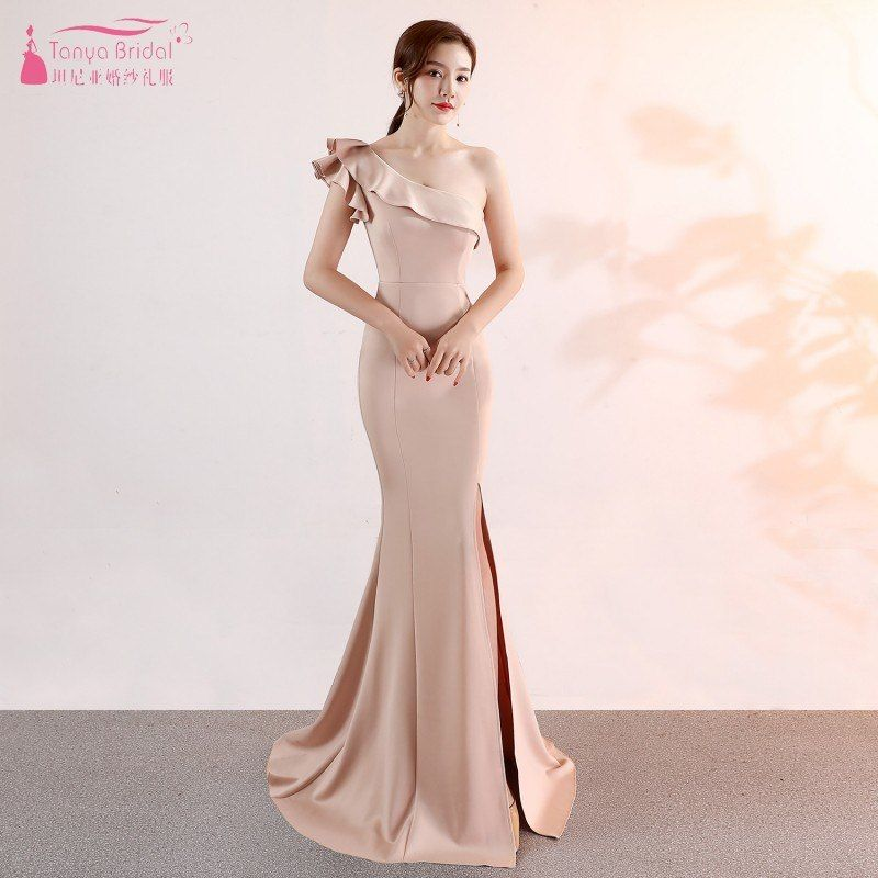 05ed360f70 Find More Bridesmaid Dresses Information about Long Champagne Bridesmaid  Dresses One Shoulder robe demoiselle d honneur Side Slit Simple Vestidos de  fiesta ...