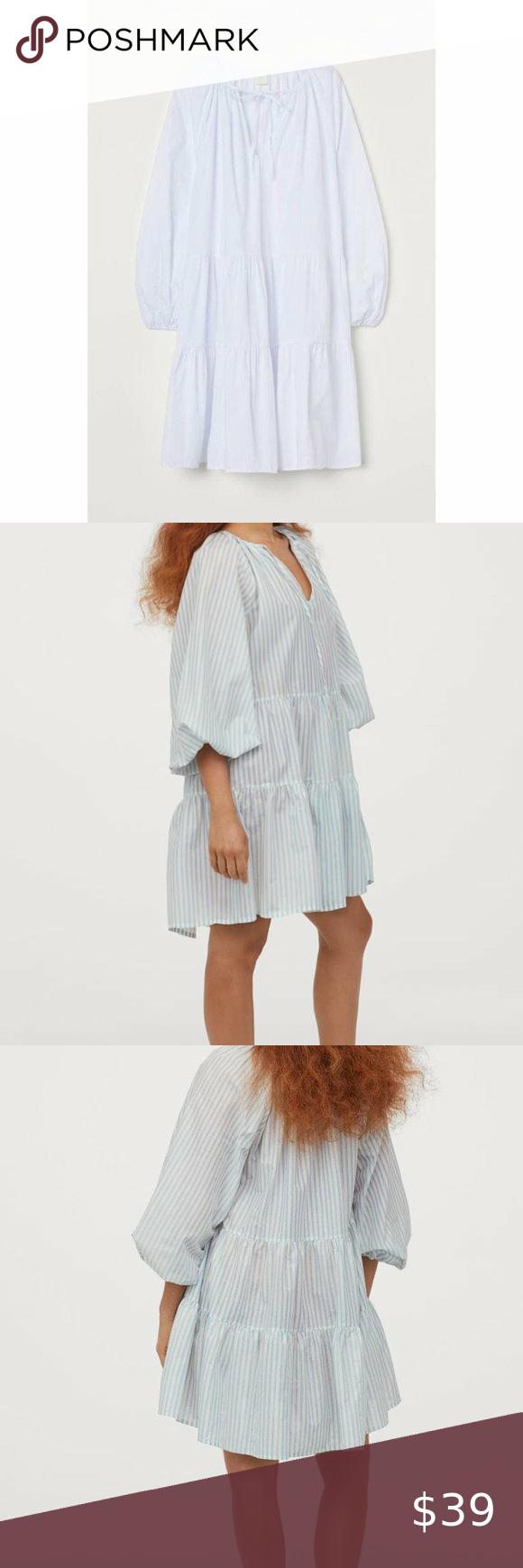 H M Puff Sleeve Tiered Mini Dress White S White Mini Dress Mini Dress Puff Sleeve [ 1740 x 580 Pixel ]