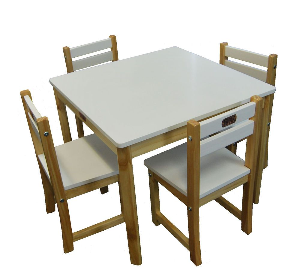 Square Table And 4 Chairs Part - 34: BOSS White Square Childrens Table + 4 Chairs Kids Dining Set TIKKTOKK  Furniture