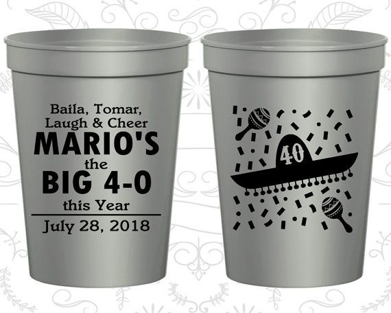 40th Birthday Party Cups Personalized Party by MyWeddingStore