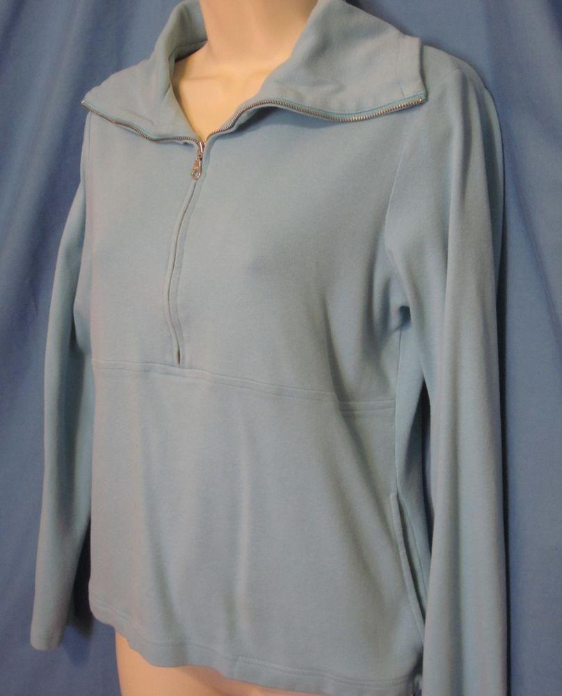 8a4bc6d2879 Ann Taylor LOFT Womens Small Light Blue 1 2 1 4 Zip Sweatshirt Pullover  Stretch