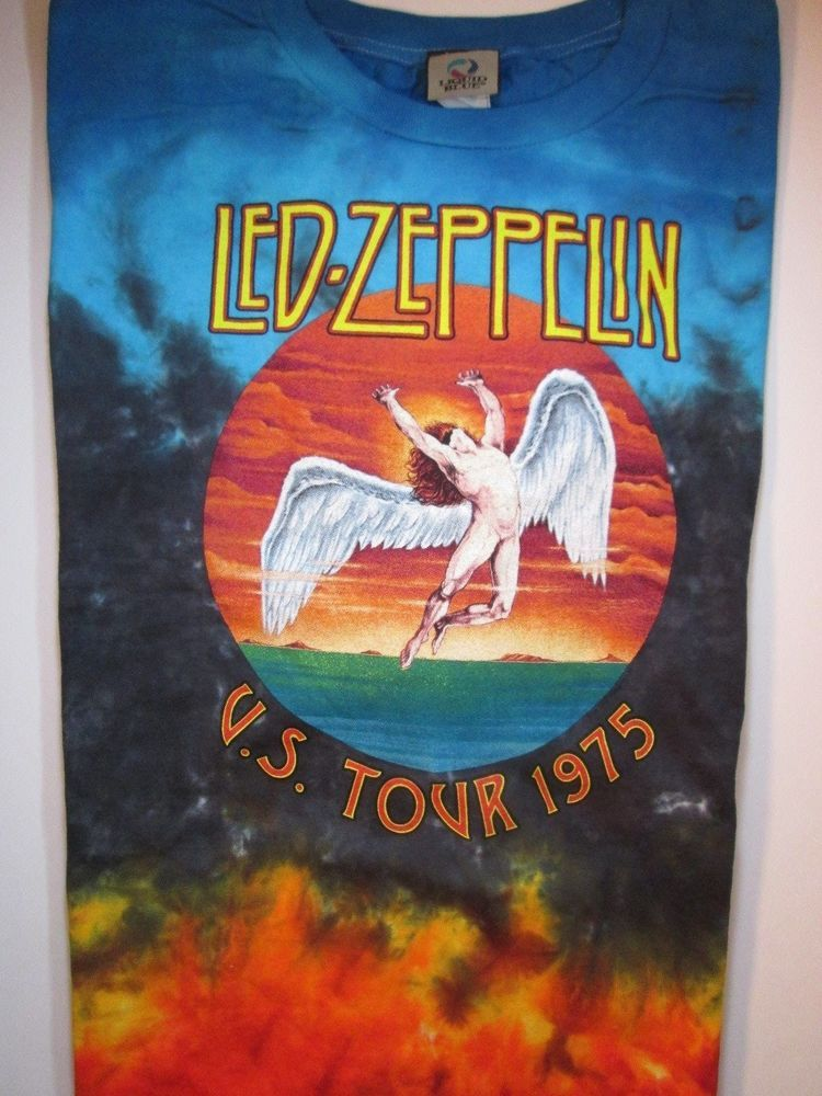 386df37121c Led Zeppelin Icarus Fallen Angel US Tour 1975 Tie Dye T-Shirt TShirt Size  4XL  LiquidBlue  GraphicTee  21.59