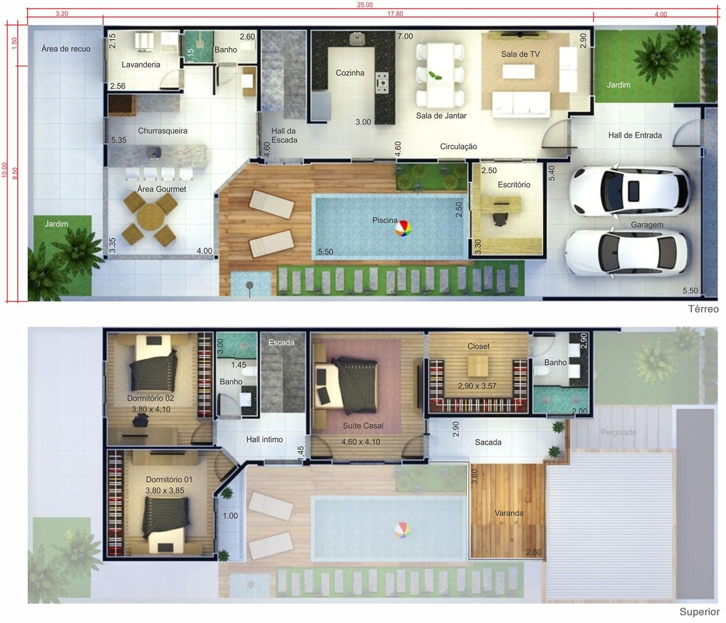 Projeto de sobrado com terra o planta para terreno 10x25 for Dream house plans 3d