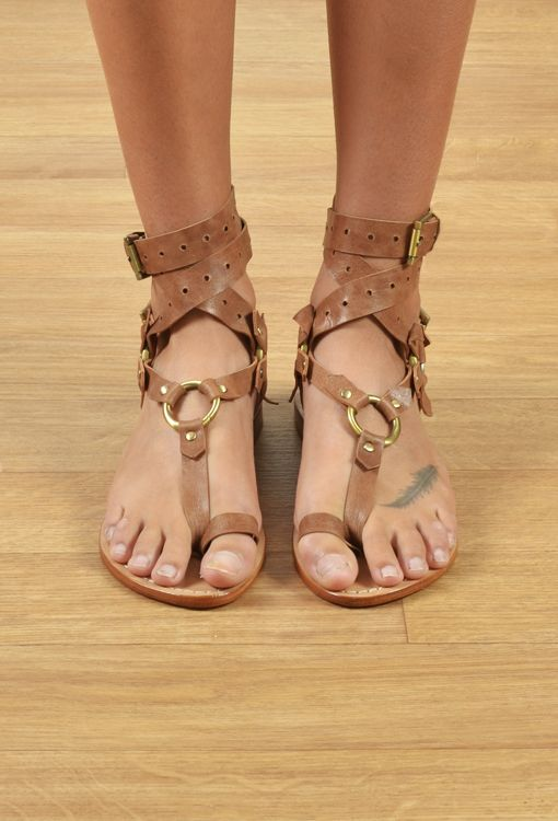 89eba9c5b642 Sexy tan leather gladiator wrap sandals.  Livingston  sandals available at The  Freedom State.
