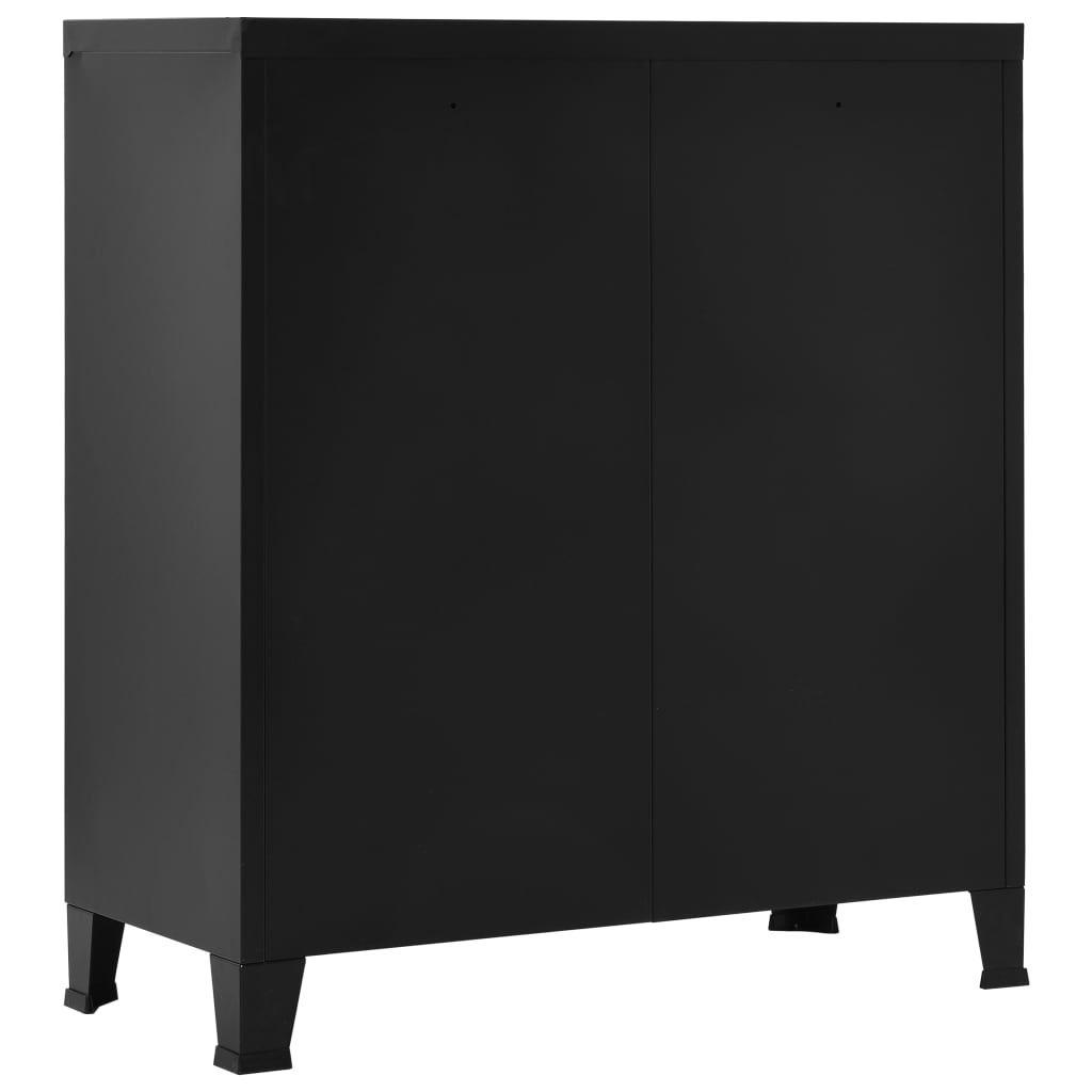 ZNTS Filing Cabinet Industrial Black 90x40x100 cm Steel 1453…