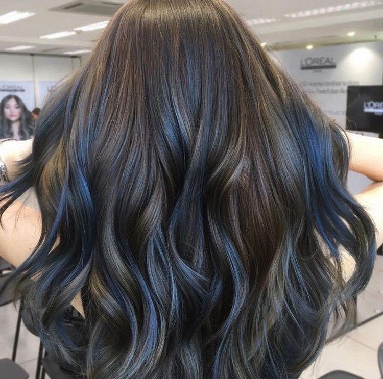 Dark Brown Hair With Blue Highlights Blue Hair Highlights Hair Highlights Brown Hair Blue Highlights