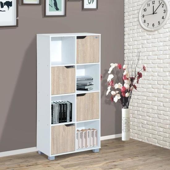 Bibliothèque meuble de rangement bicolore 4 casiers ouverts 4 portes