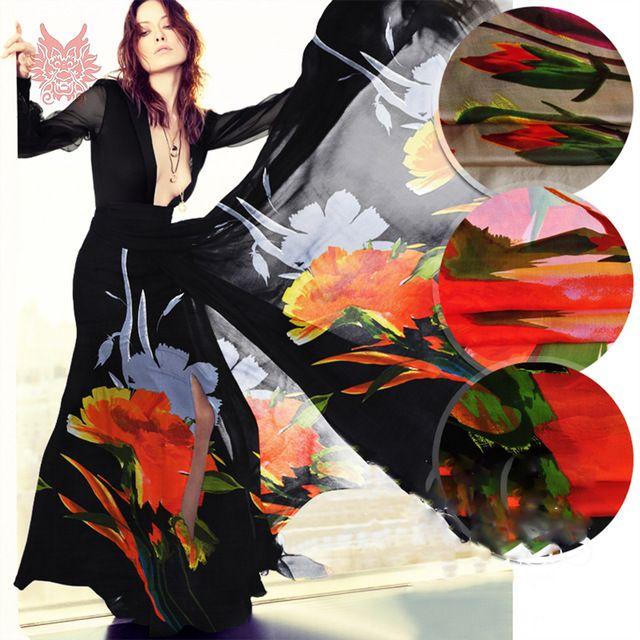 Designer brown black white floral print 100%silk chiffon fabric for dress pure silk fabric cloth for sew tela tejido 6mm SP3346