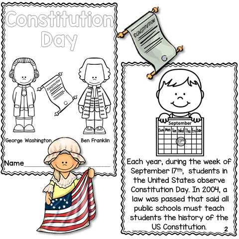 Constitution day printable reader with comprehension 1st for Constitution day coloring pages kindergarten