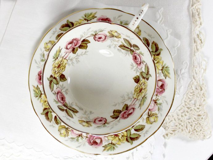 Coalport  Rosalinda Bone China Wide Mouthed Teacup  and Saucer