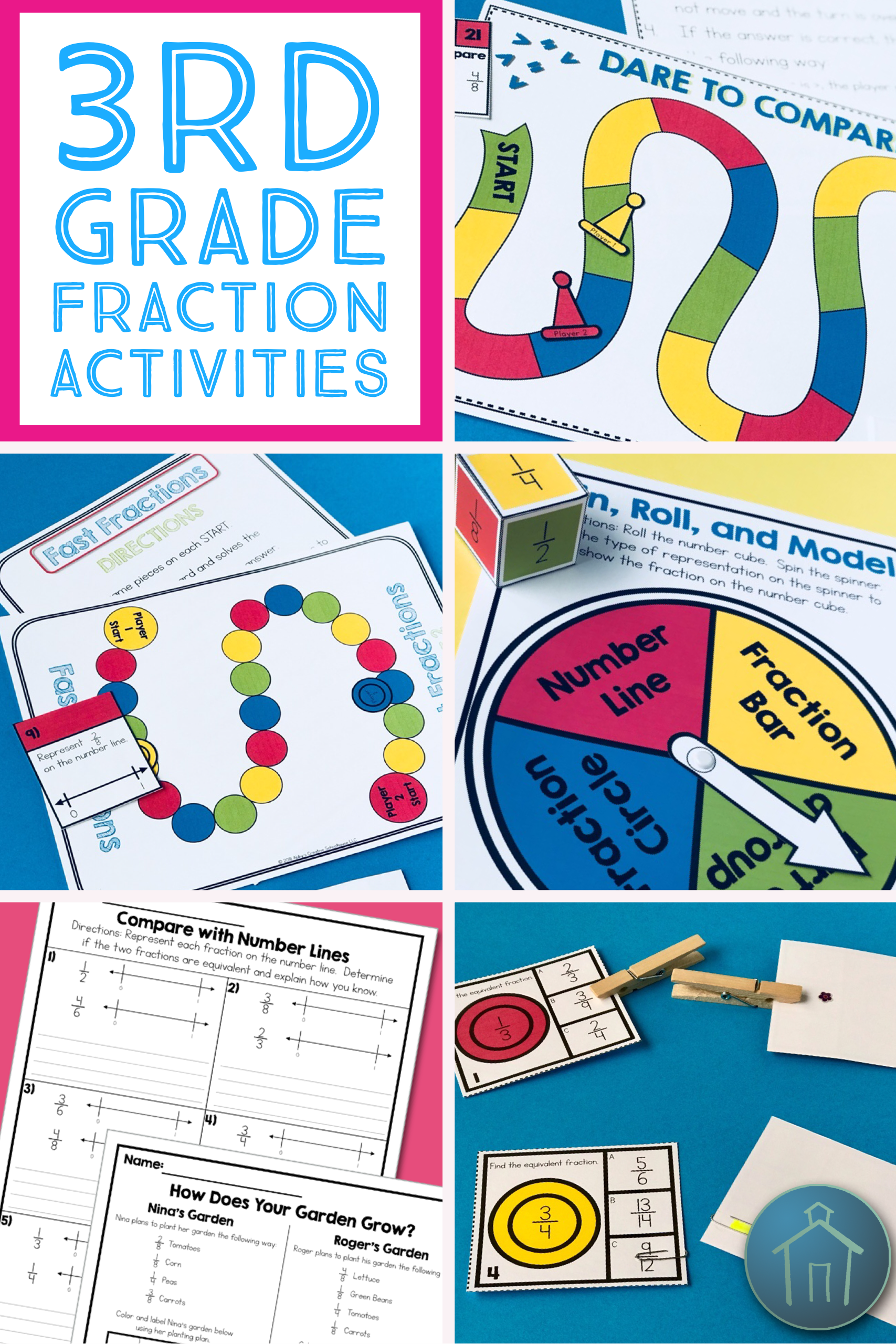 3rd Grade Math Fraction Activities Set