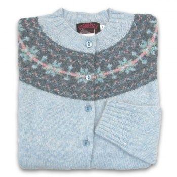 66d32f319 Women s Scottish Shetland Wool Fair Isle Cardigan Sweater - Frost ...