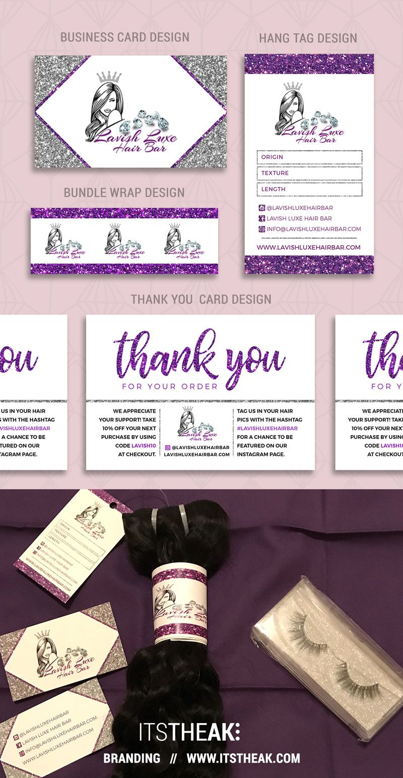 Virgin hair extensions · branding package business card design hang tag bundle wrap thank you card