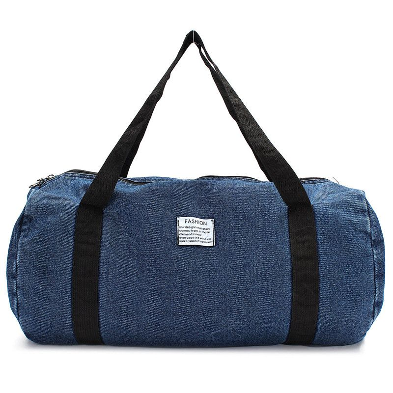 New Men Women Travel Business Trip Washed Denim Large Capacity Single Unisex Beach Ourdoor Zipper Durable Bag Fashion