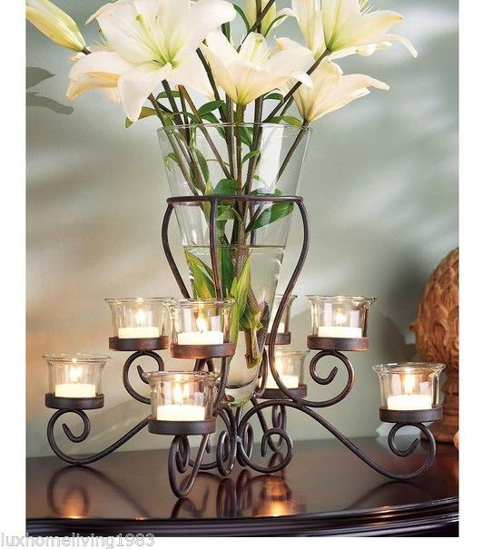 Wrought Iron Tealight Flower Vase Candle Holder Centerpiece Home