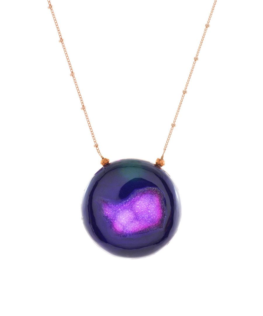Look at this Rose Gold & Purple Druzy Galaxy Round Pendant Necklace on #zulily today!