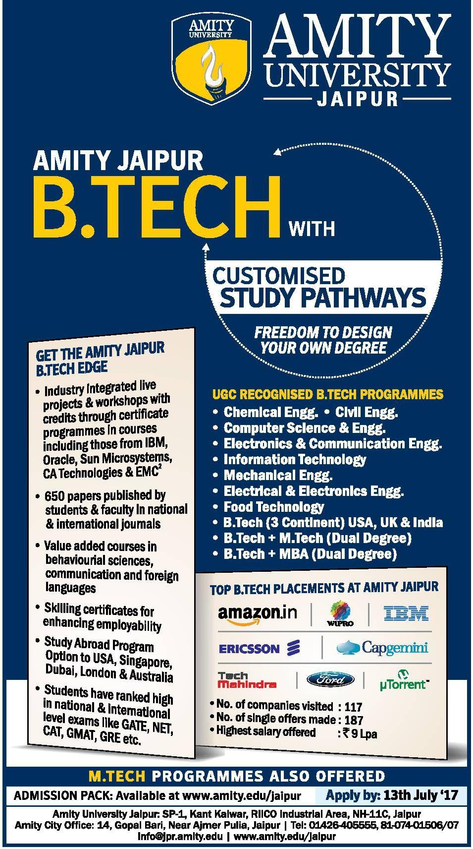 Amity University Jaipur Get The Amity Jaipur Btech Edge Ad With
