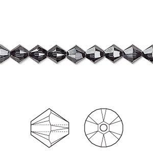 Bead, Swarovski crystals, graphite, 6mm Xilion bicone (5328). Sold per pkg of 24.