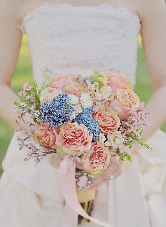 Vintage Feeling Peach And Blue Bridal Bouquet Love The Tiny Wax Flowers Brooch On Her Wrap Image Via Sparkle Hay