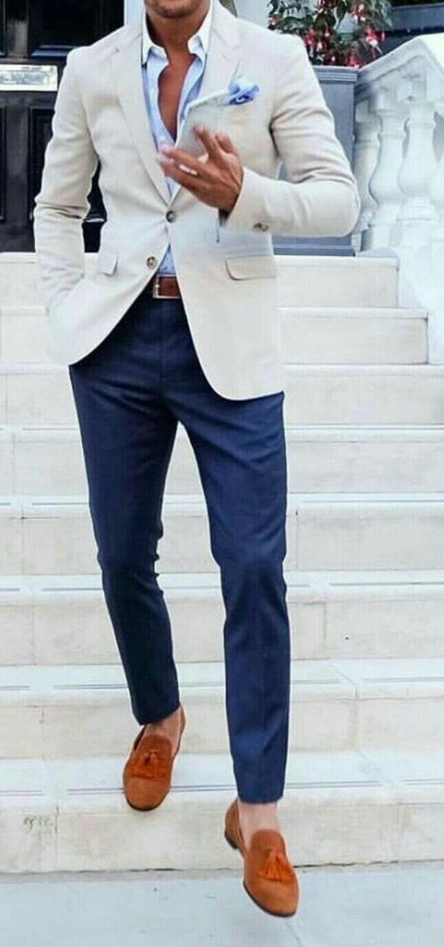 Pantalón azul moda masculina pinterest see best ideas about