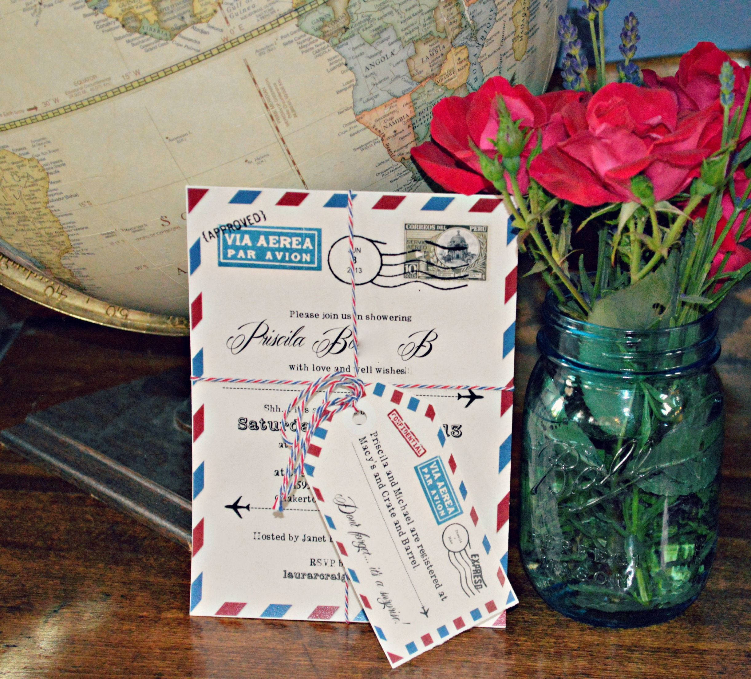 A travel themed invitation. The luggage tag insert makes for a ...