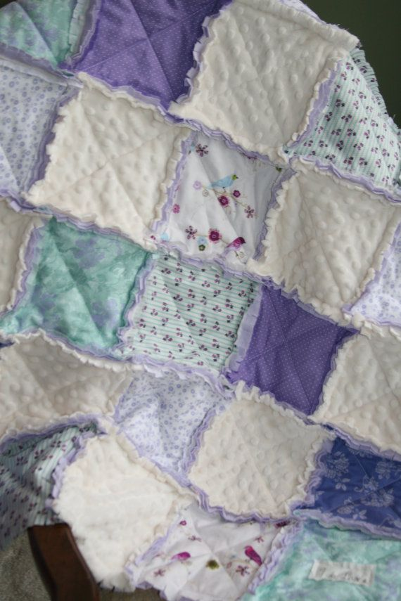 This one was sold locally, but i can make another! Baby Girl Rag Quilt Shabby Chic Lavender Aqua Nursery