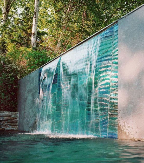 Garden, Marvelous Outdoor Water Walls Design Ideas With Fancy Background  And Elegant Pool Waterfall Pond Fountain Feature Ponds Yard Concrete Blocku2026
