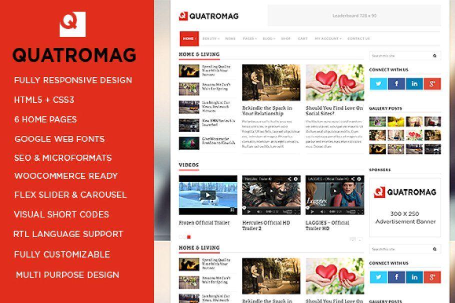 QuatroMag - WordPress Blog/Magazine - Magazine theme wordpress, WordPress theme design, WordPress - 웹