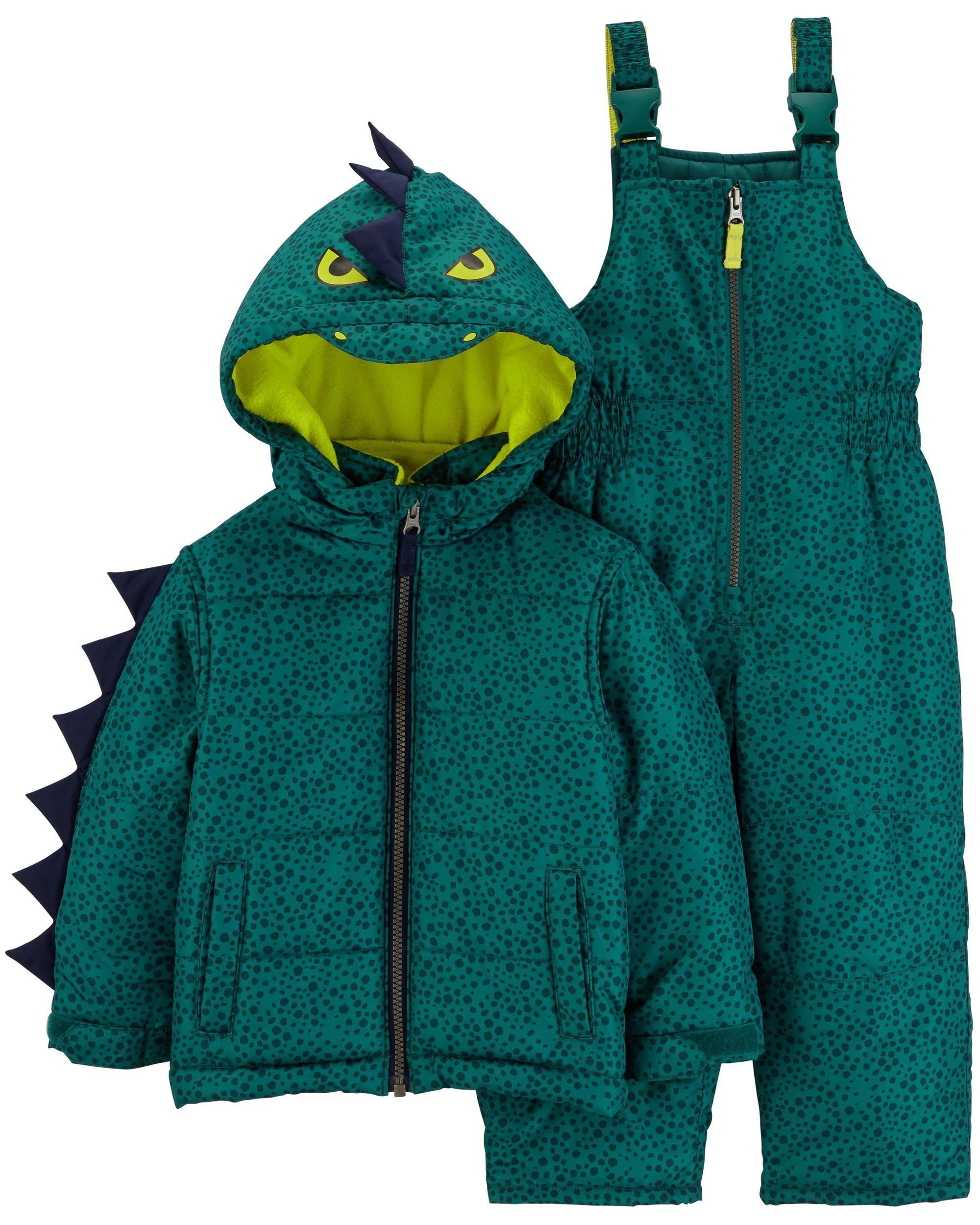 2 Piece Dinosaur Snowsuit Set Boy Outerwear Boys Jacket Toddler Snowsuit [ 2500 x 2000 Pixel ]
