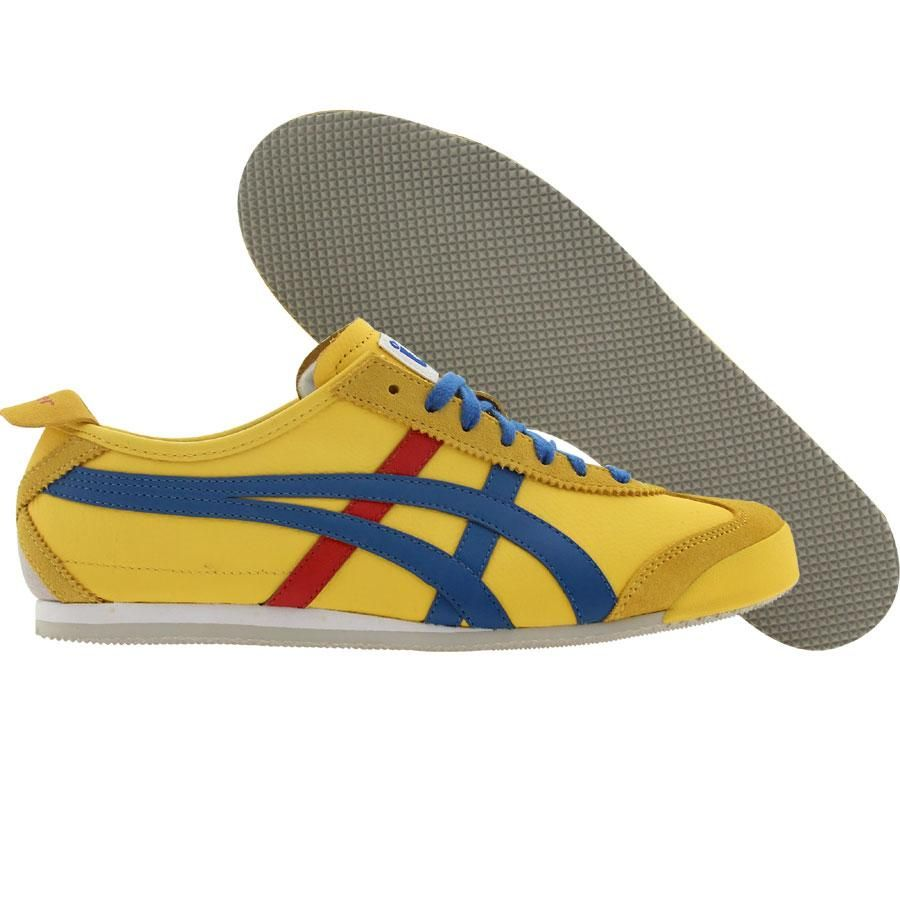best sneakers 831f8 5a08d Asics Onitsuka Tiger Mexico 66 shoes in yellow, blue, and red.