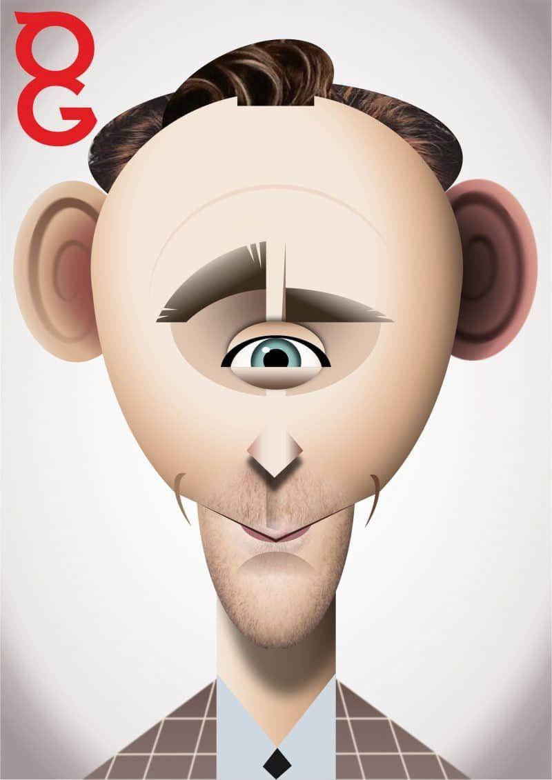 Digital caricature vector portrait of tom hiddleston by