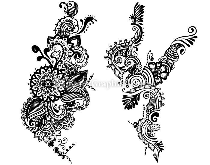 Hand Drawn Floral Set 21 Embroidery Tattoo Floral Sets Henna Art