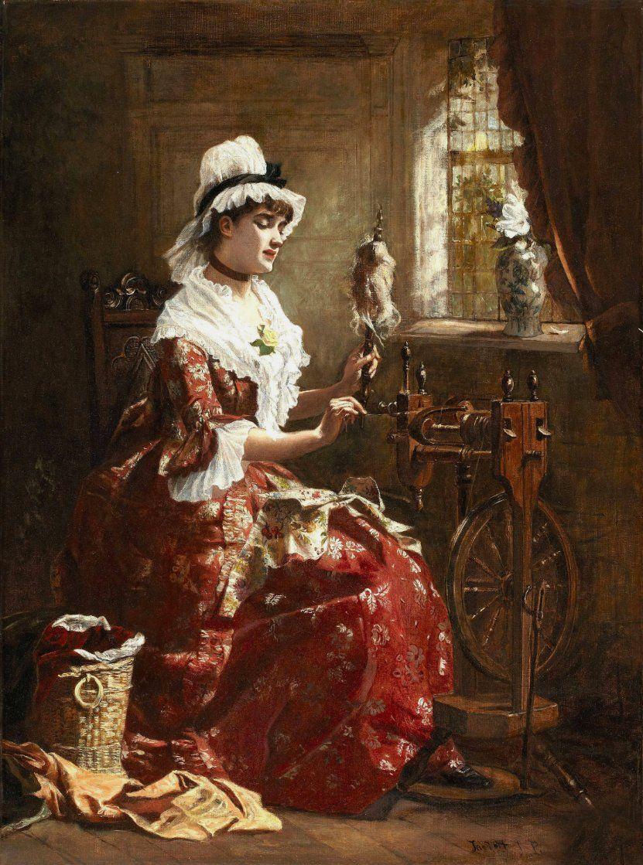 """""""Spinning the Wool"""", 1878, by Laslett John Pott (British, 1837-1898)"""