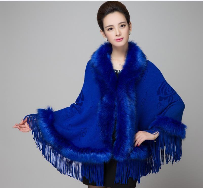 ae98349129c Pas cher Wraps foulards manteaux en fausse fourrure 2015 nouvelle coréen  impression tricoté cape bordée châle